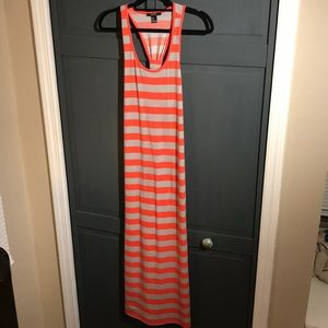 Gray & Coral Striped Maxi Dress